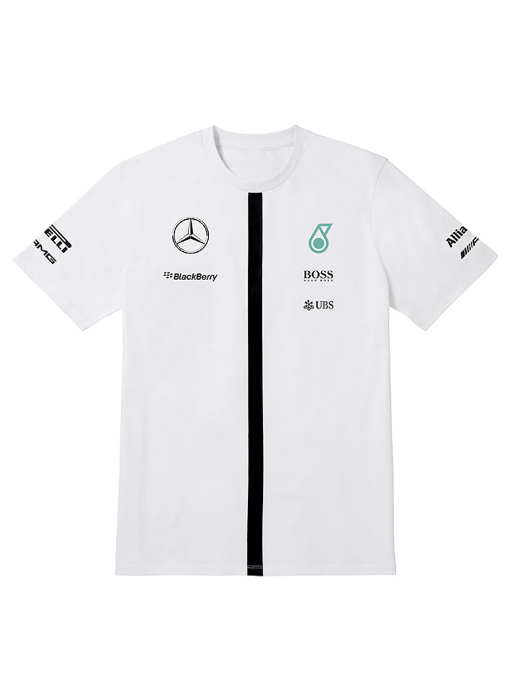 Men s t shirt motorsport white classic collections for Mercedes benz shirts