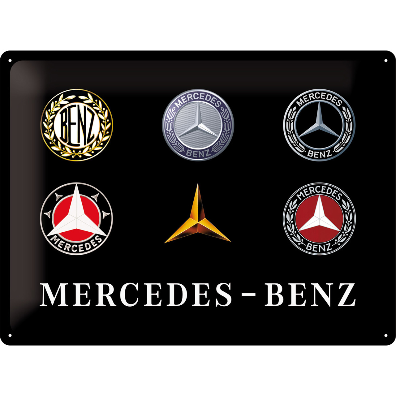 Mercedes-Benz Museum Tin Sign Logo Evolution